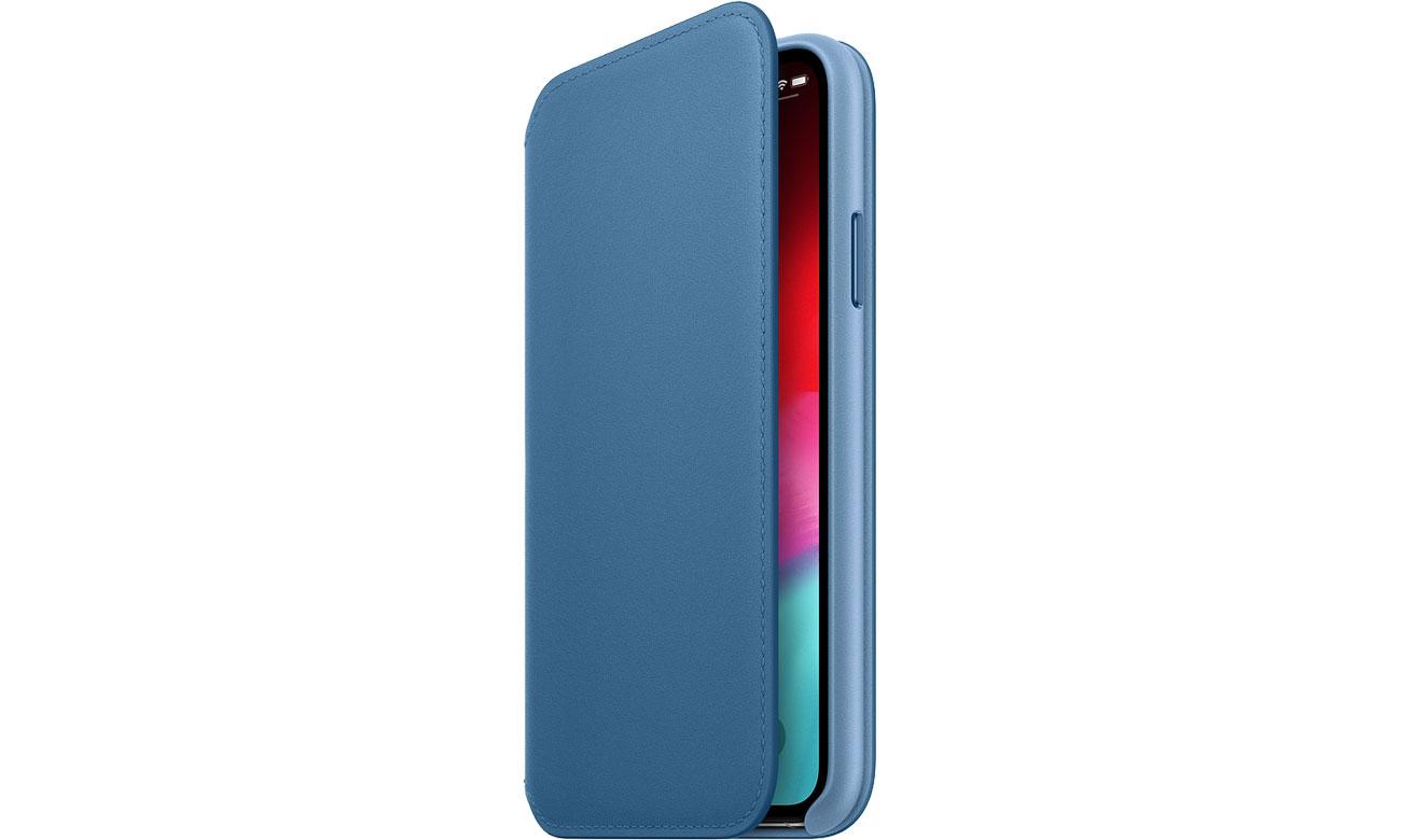 Etui z klapką Apple iPhone XS Leather Folio Cape Cod Blue MRX02ZM/A