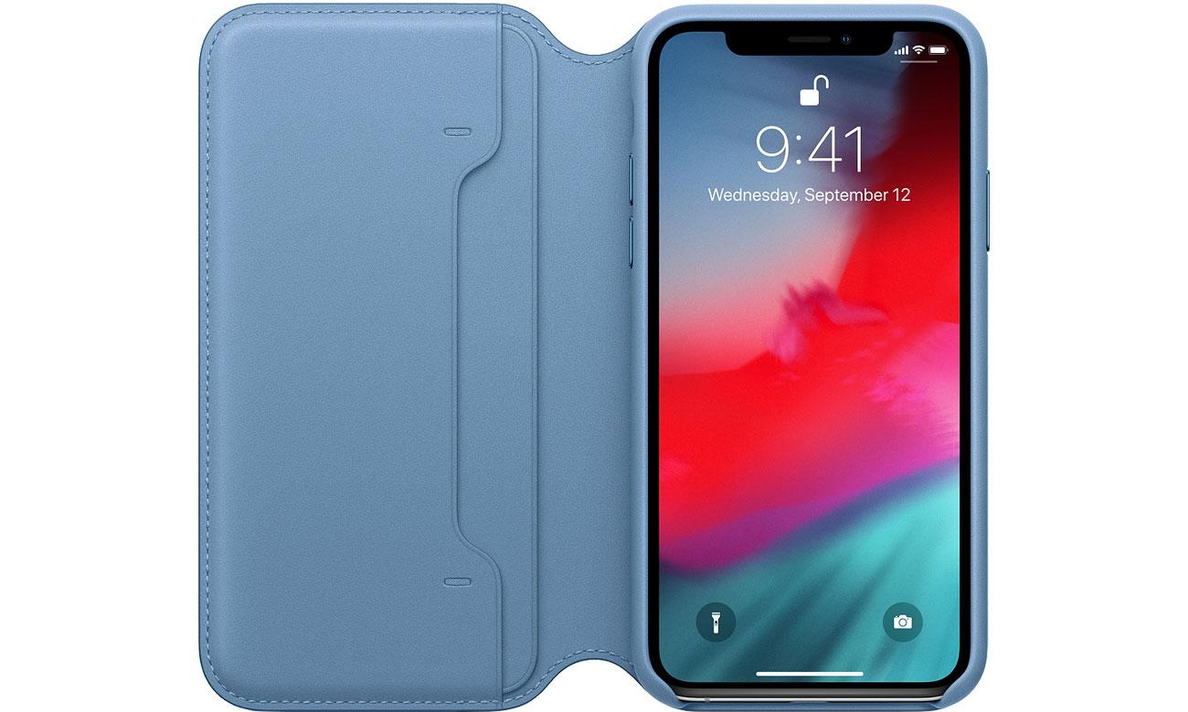 Apple Leather Folio do iPhone XS Szary Błękit Schowek na karty