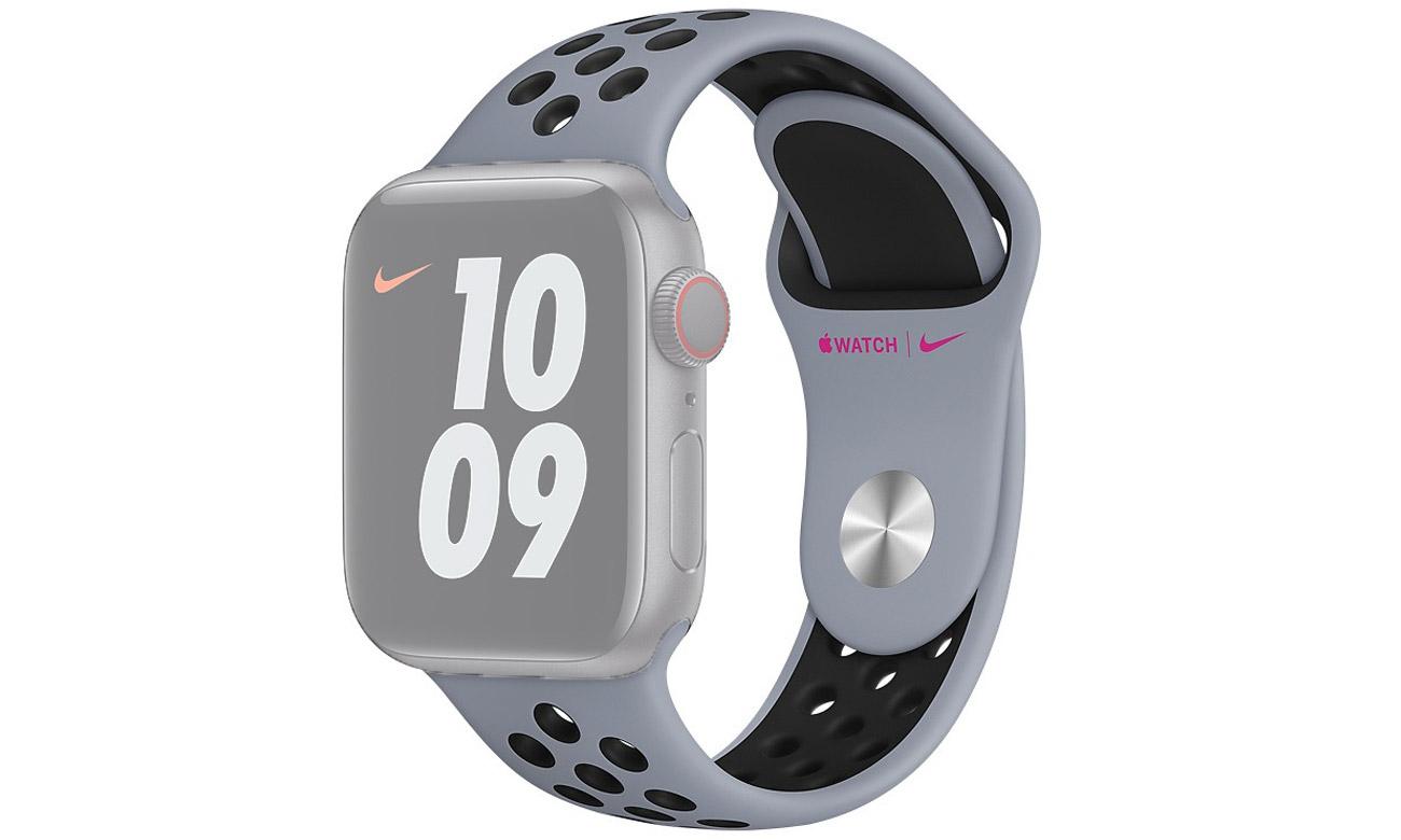 Pasek sportowy Nike w kolorach jasnego obsydianu i czarnym do Apple Watch 40 mm
