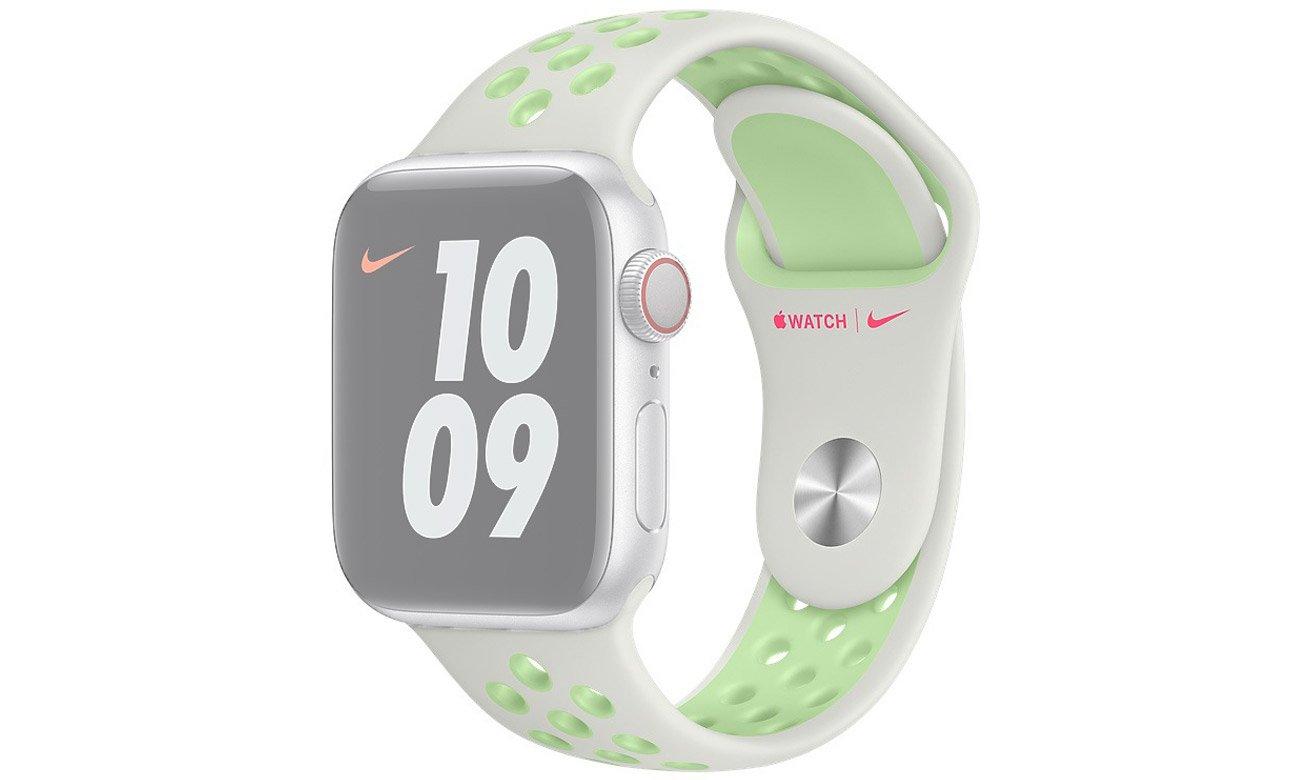 Pasek sportowy Nike w kolorach delikatnej i neonowej zieleni do Apple Watch 44 mm