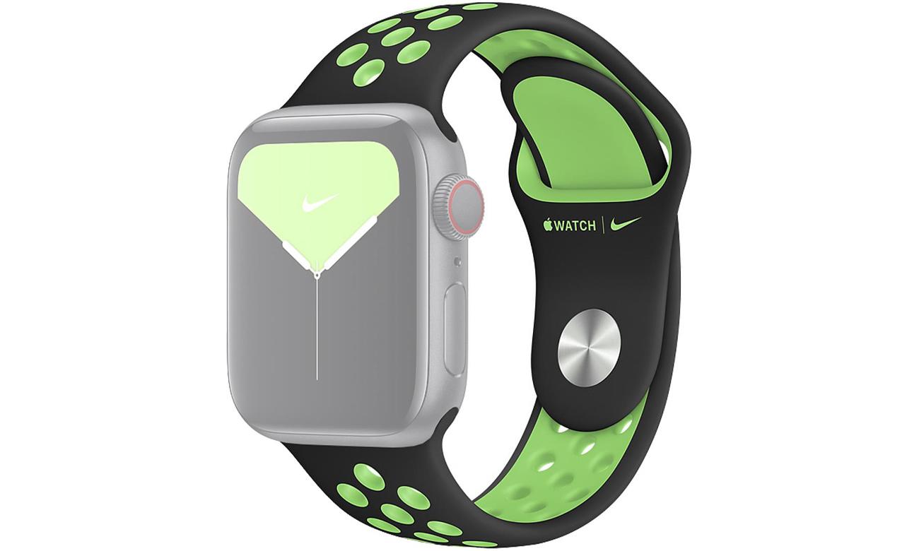 Pasek sportowy Nike w kolorach czarnym i limetki do Apple Watch 40 mm