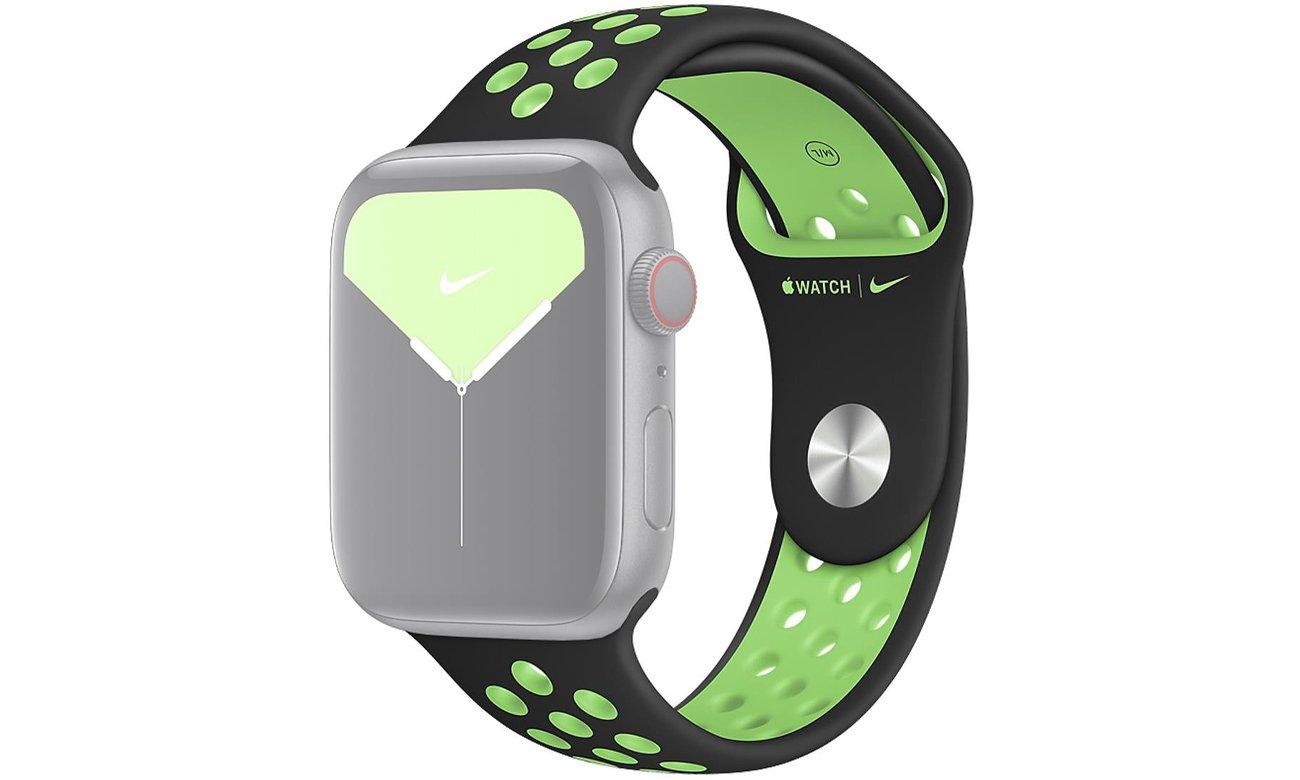 Pasek sportowy Nike w kolorach czarnym i limetki do Apple Watch 44 mm