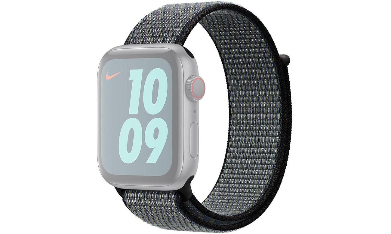 Opaska sportowa Nike w kolorze indygo / limetki do Apple Watch 44 mm