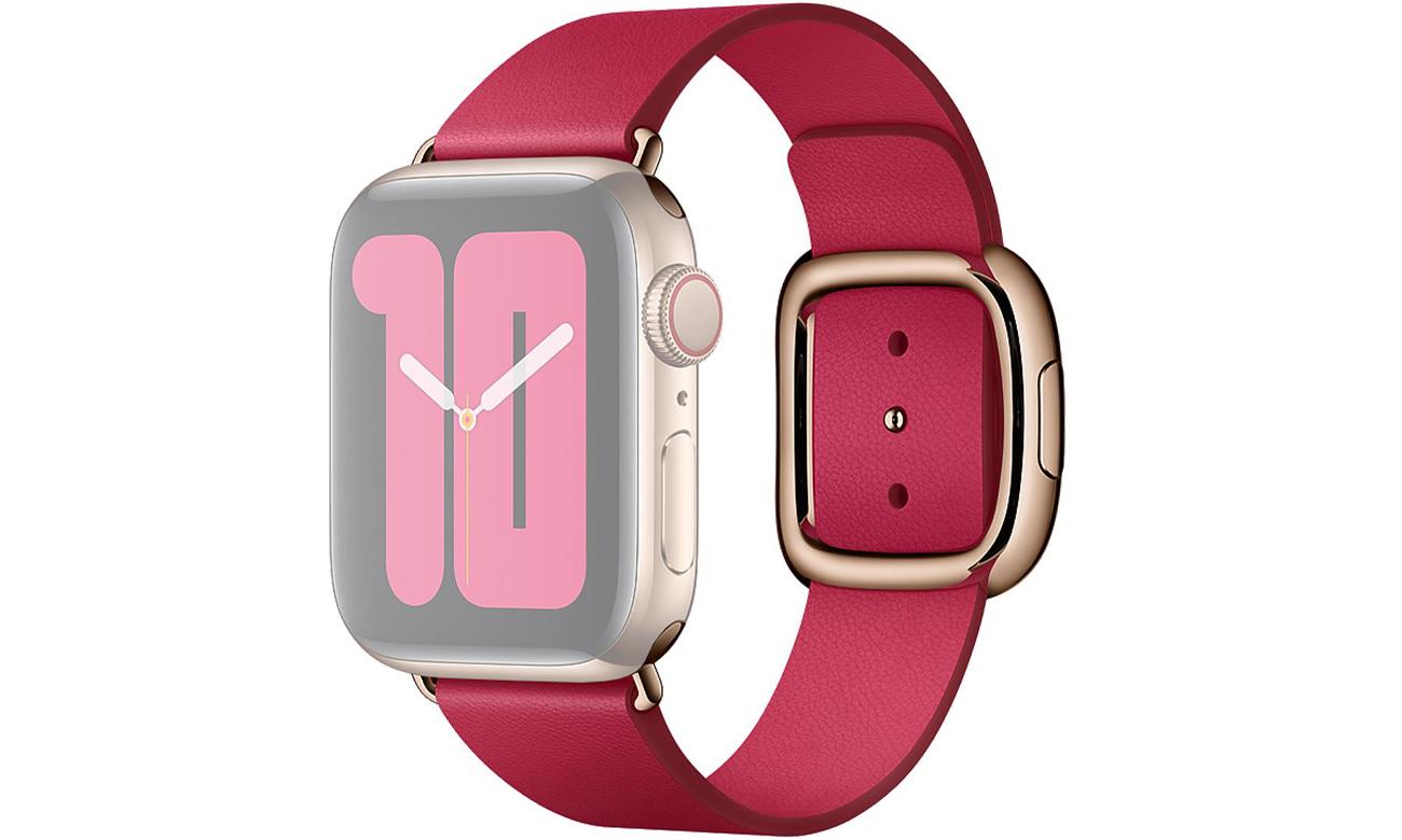 Pasek w kolorze malinowym z klamrą nowoczesną do Apple Watch 40 mm - M