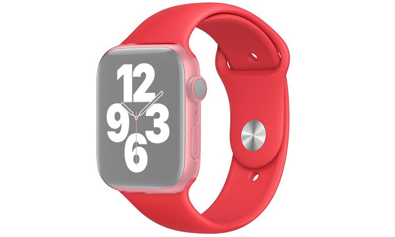 Pasek sportowy w kolorze czerwonym do Apple Watch 44 mm
