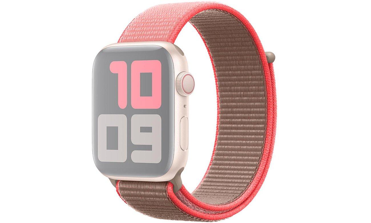 Opaska sportowa w kolorze neonowego różu do Apple Watch 44 mm