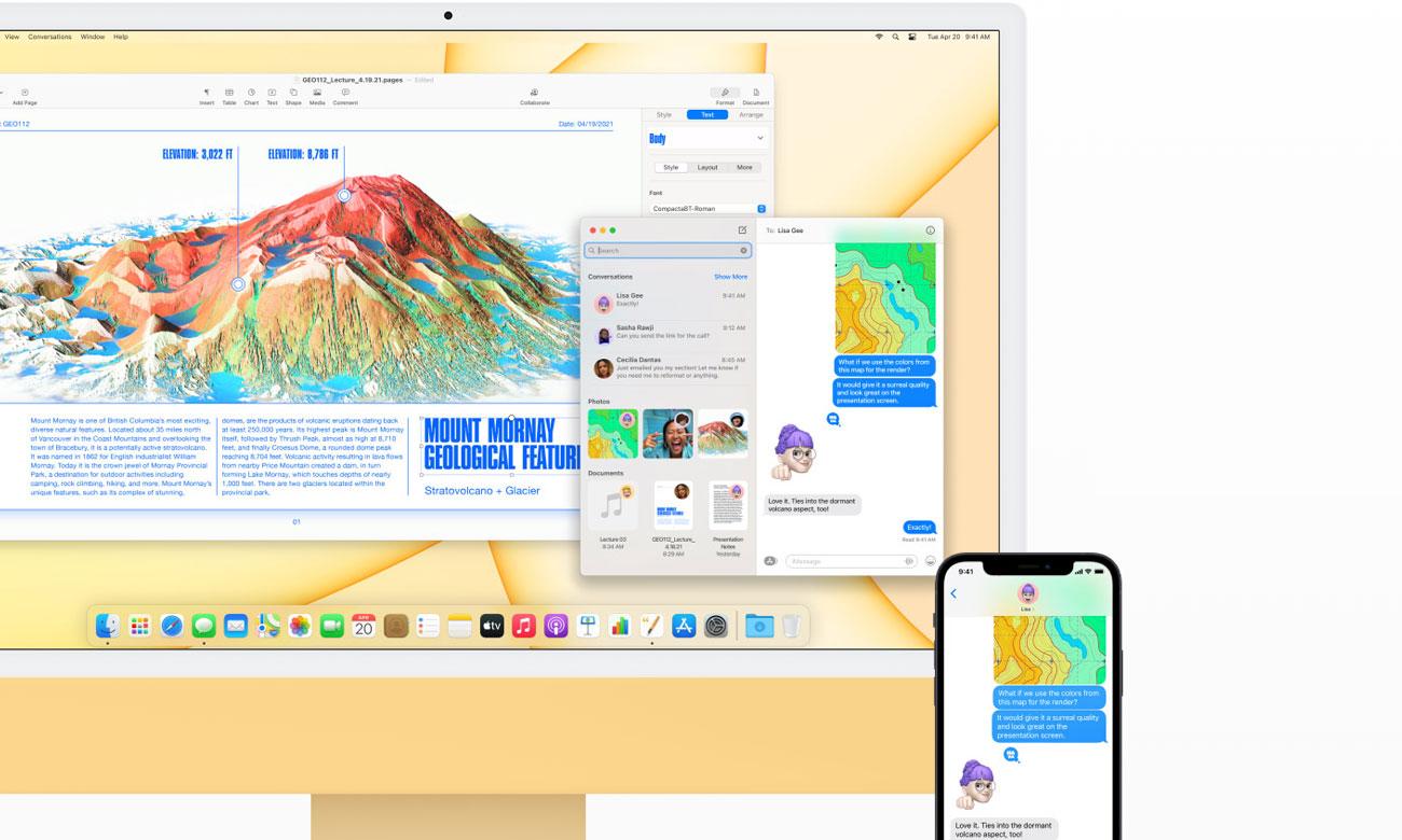 Apple iMac 24 M1 połączenie z iPhone udostępnienie ekranu