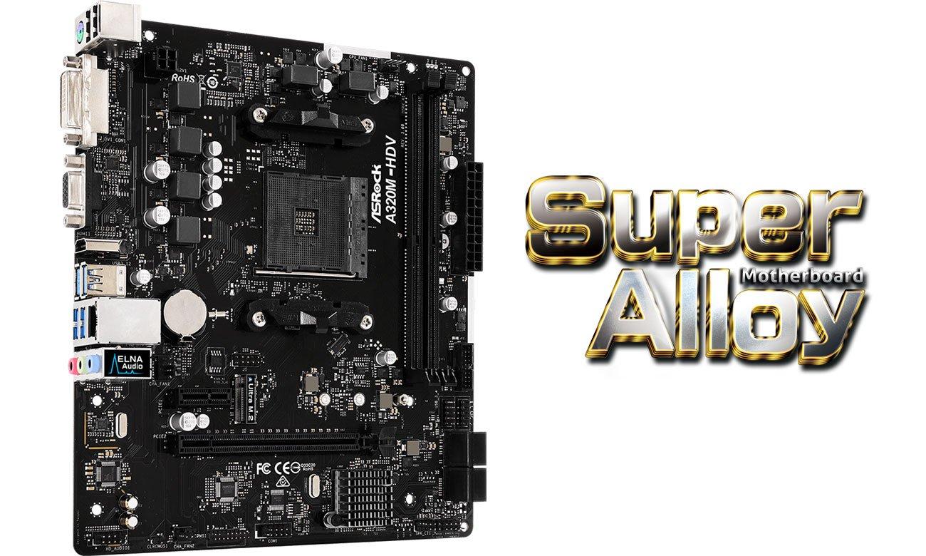 ASRock A320M-HDV R3.0 Komponenty Super Alloy