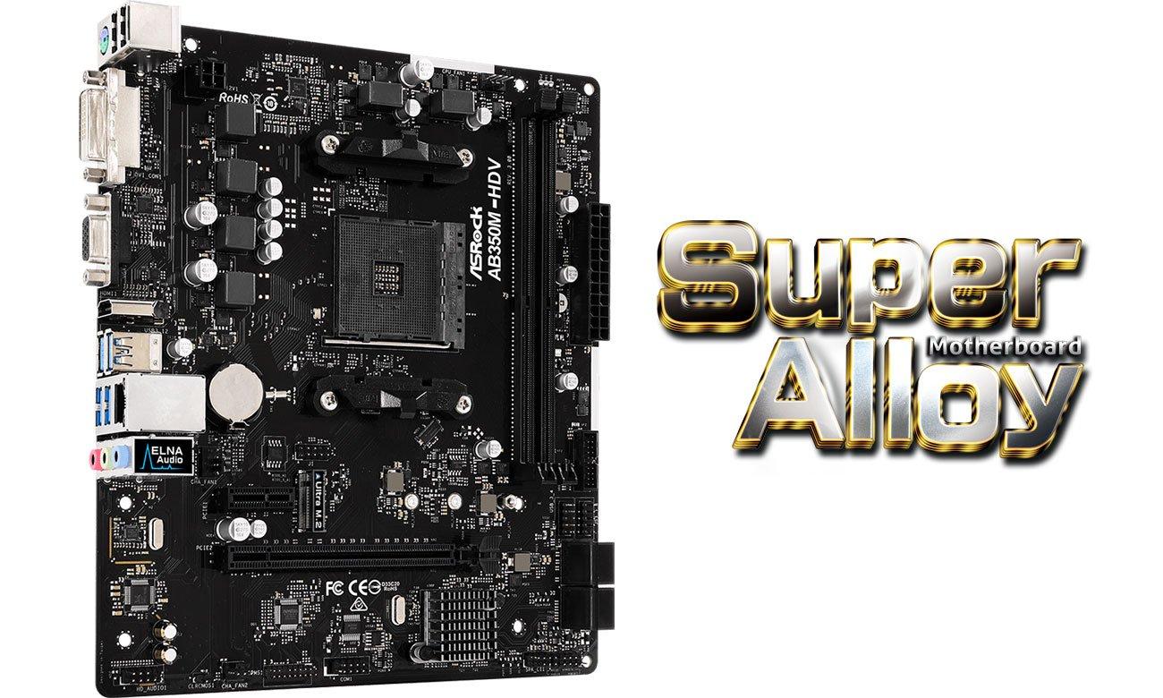 ASRock AB350M-HDV R3.0 Komponenty Super Alloy