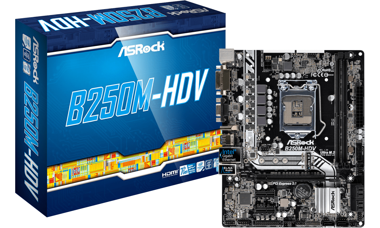 Płyta główna Socket 1151 ASRock B250M-HDV (PCI-E DDR4 USB3/M.2)