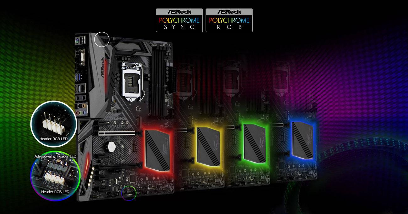 ASRock B360 Gaming K4 Podświetlenie Polychrome RGB