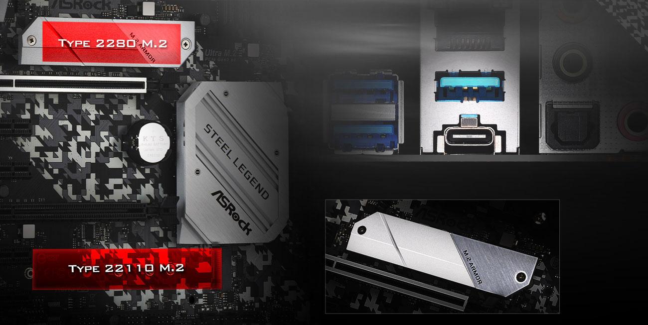 ASRock B450 Steel Legend - Złącza M.2, USB-C