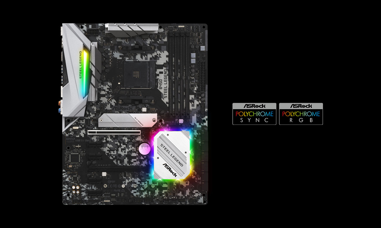 ASRock B450 Steel Legend - Podświetlenie Polychrome Sync