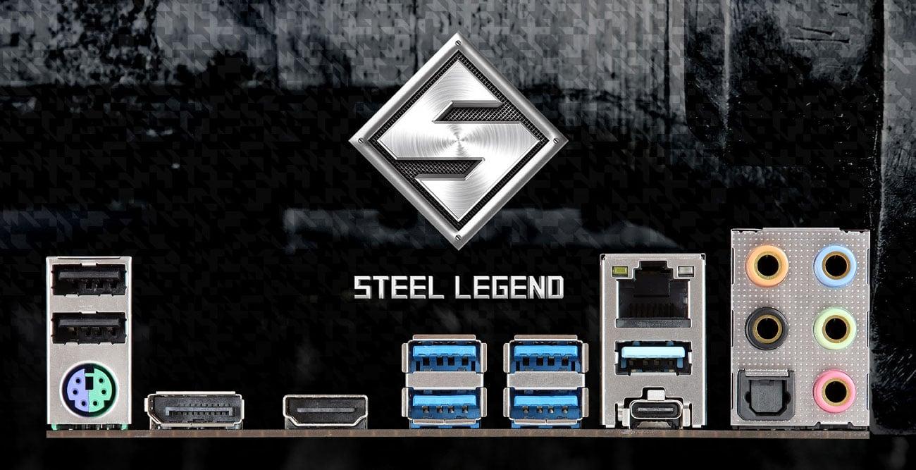 ASRock B450M Steel Legend - Złącza audio, LAN