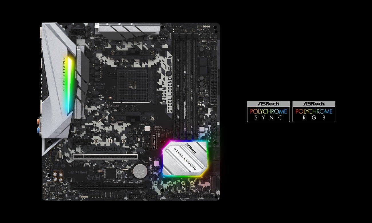 ASRock B450M Steel Legend - Podświetlenie Polychrome RGB