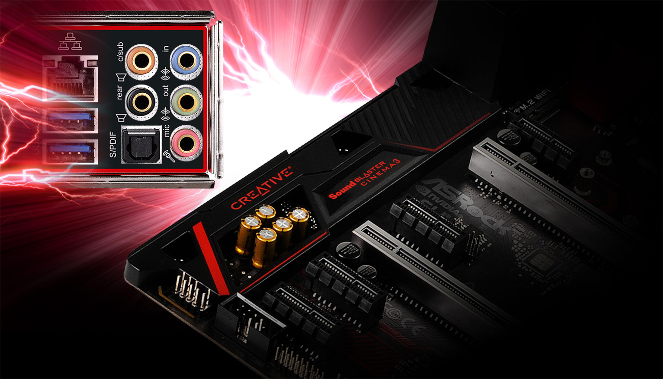 ASRock Fatal1ty X370 Gaming X Creative Sound Blaster™ Cinema 3