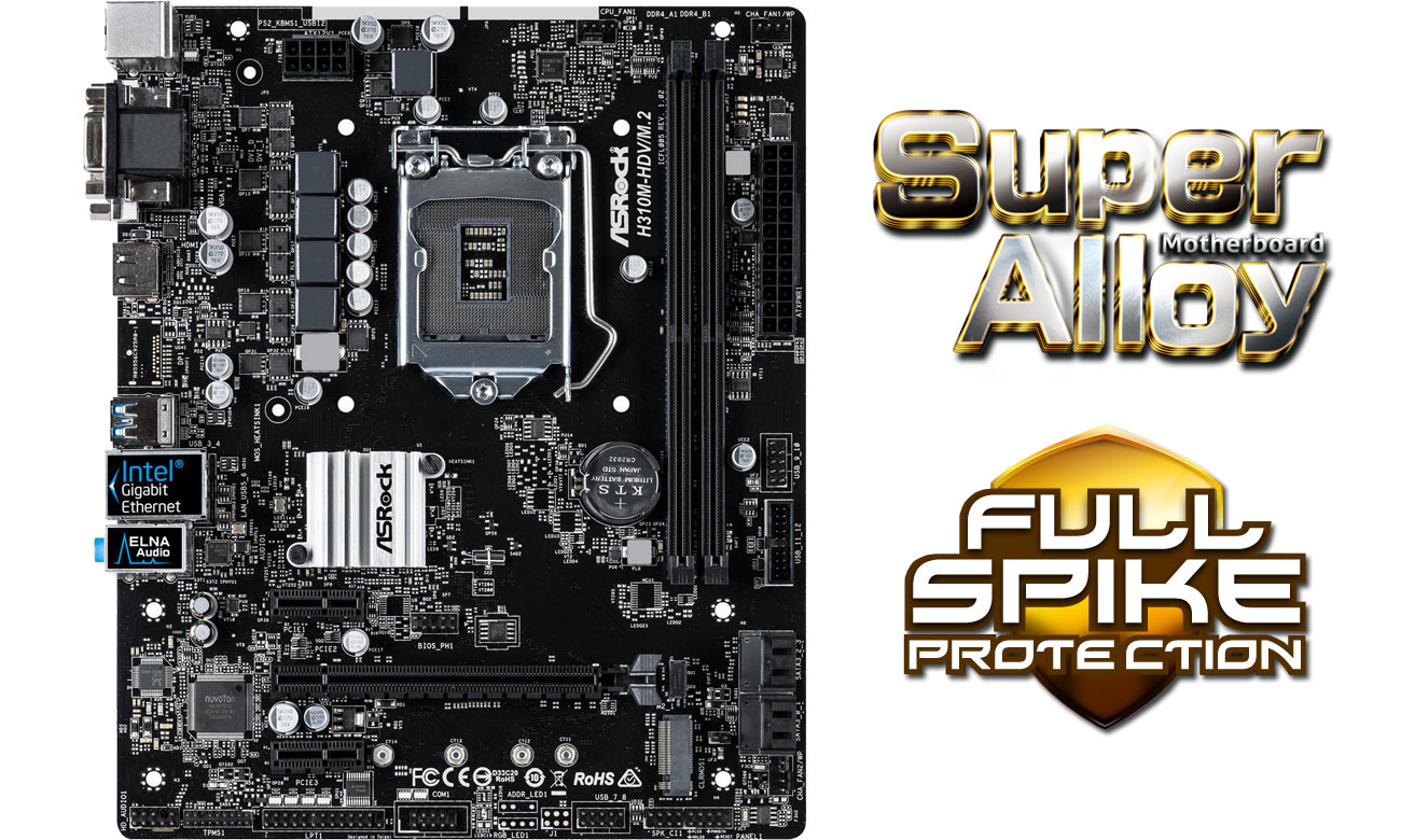 ASRock H310M-HDV/M.2 Super Alloy Full Spike Protection