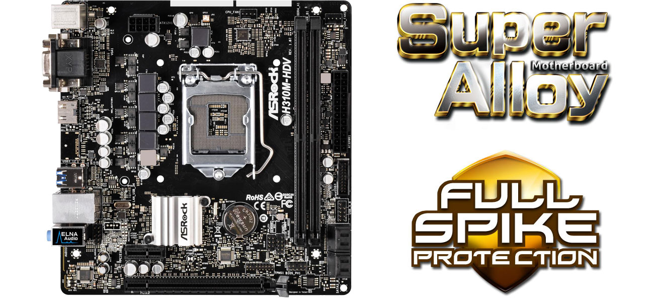 ASRock H310M-HDV Super Alloy Full Spike Protection