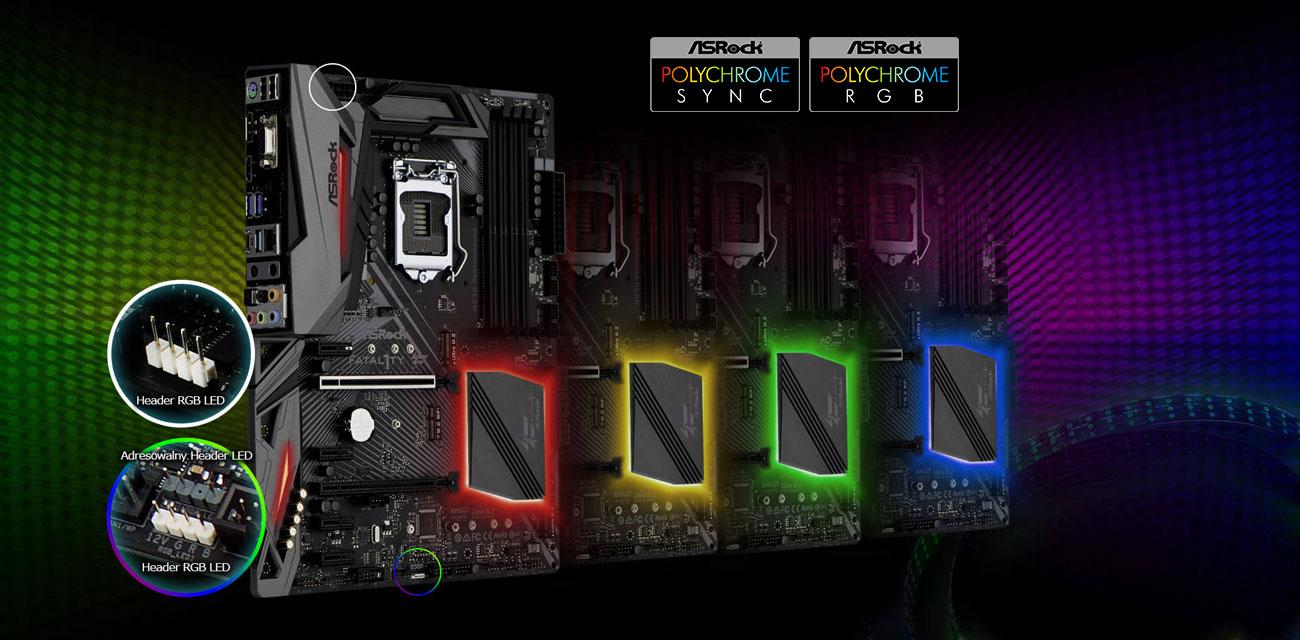 ASRock H370 PERFORMANCE Podświetlenie Polychrome RGB