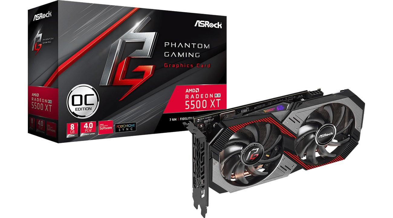 Karta graficzna AMD ASRock Radeon RX 5500 XT Phantom Gaming D OC 8GB GDDR6 RX5500XT PGD 8GO