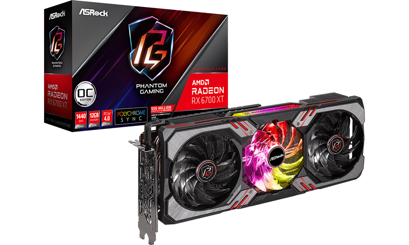 Karta graficzna AMD ASRock Radeon RX 6700 XT Phantom Gaming D OC 12GB GDDR6 RX6700XT PGD 12GO