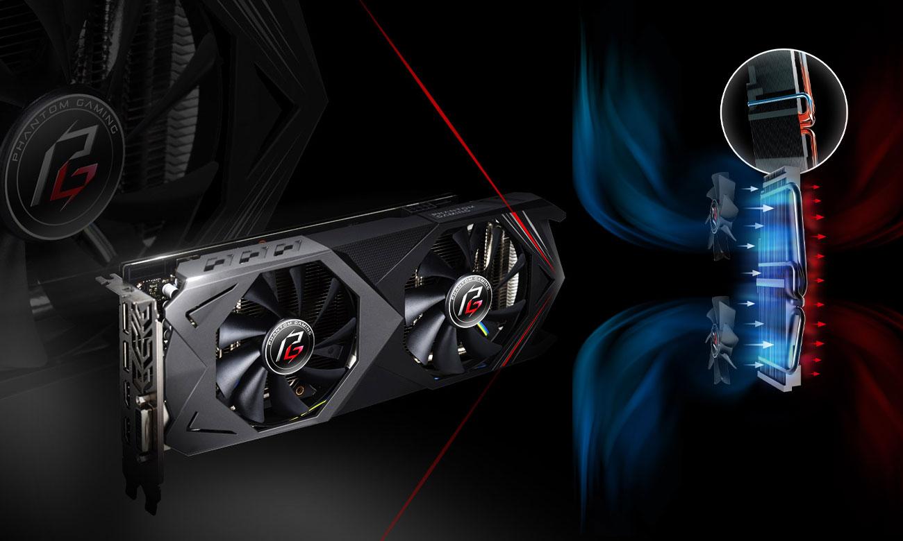 ASRock RX 590 Phantom Gaming X OC Dwa wentylatory