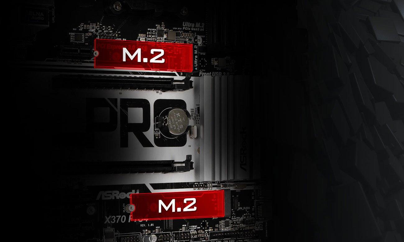 ASRock X370 Pro4 Podwójne Ultra M.2 dla SSD