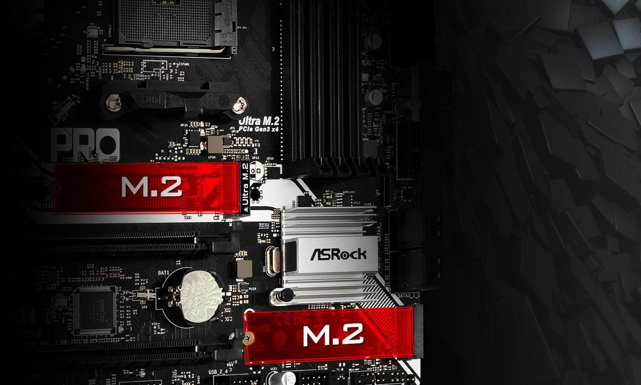 ASRock X370M Pro4 Podwójne M.2 dla SSD