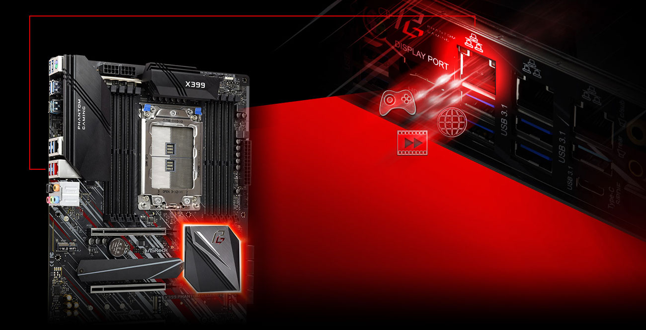 ASRock X399 Phantom Gaming 6 Sieć LAN 2.5 Gb/s