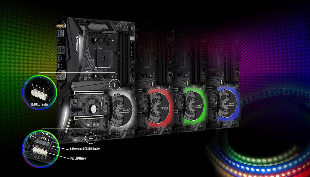 ASRock X470 Taichi Podświetlenie ASRock Polychrome RGB
