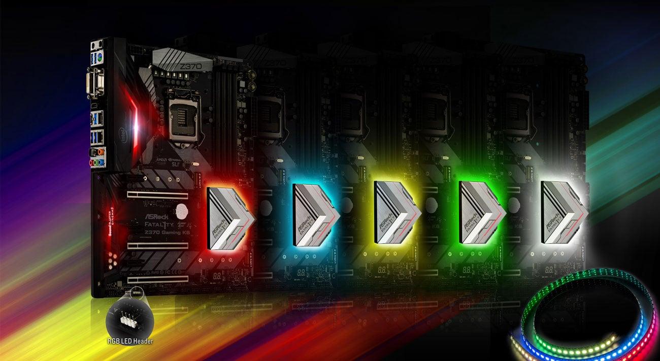 ASRock Z370 Gaming K6 Podświetlenie RGB LED