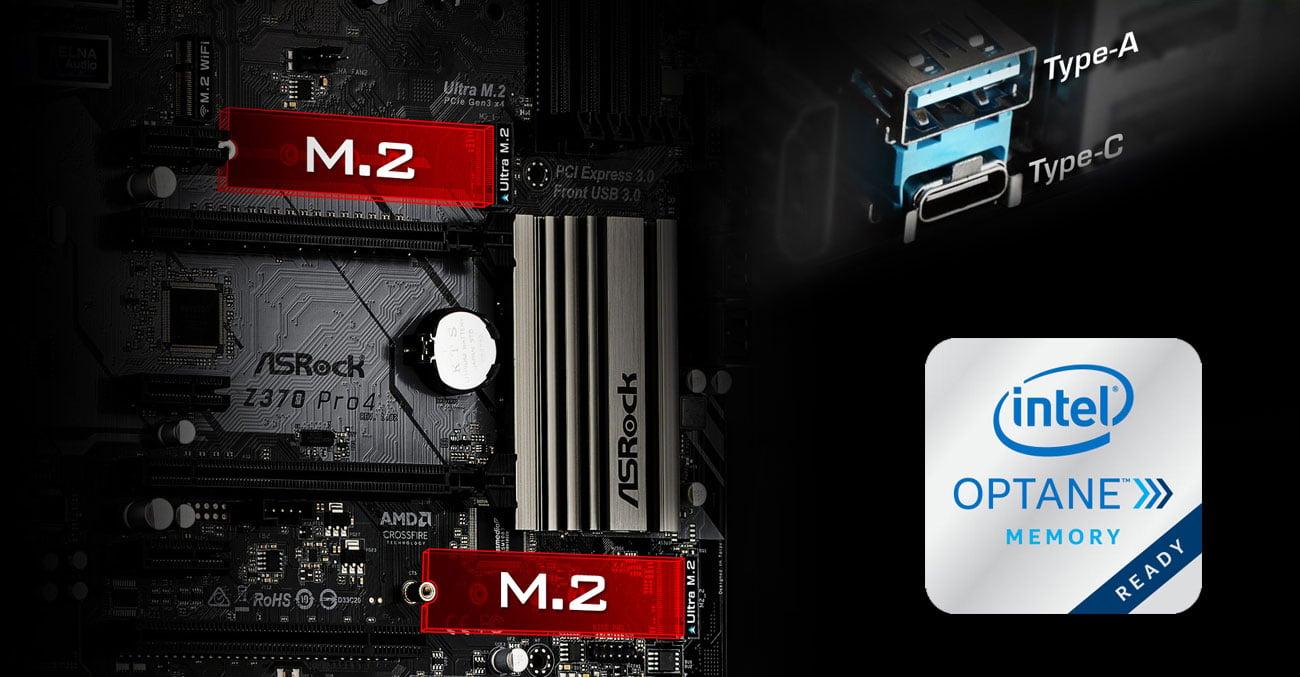 ASRock Z370 Pro4 Ultra M.2 Intel Optane USB 3.1 Gen1 USB-C