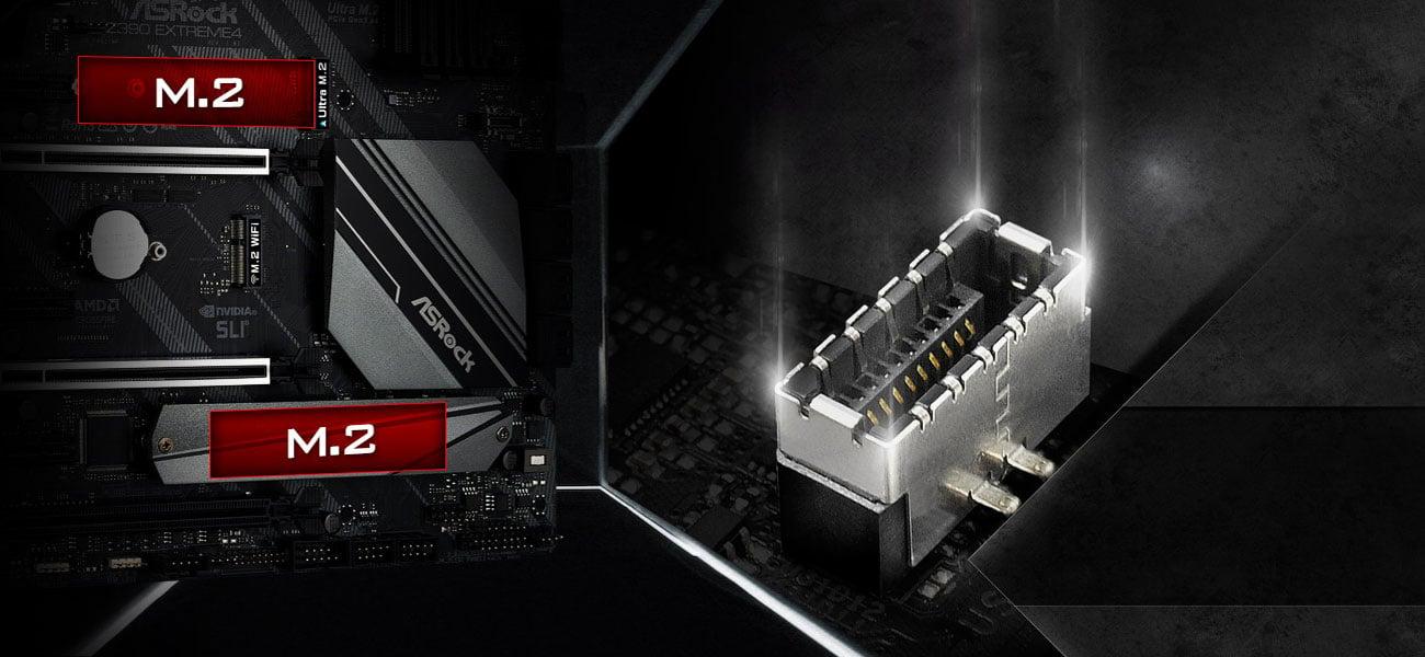 ASRock Z390 EXTREME4 Złącza M.2 i USB