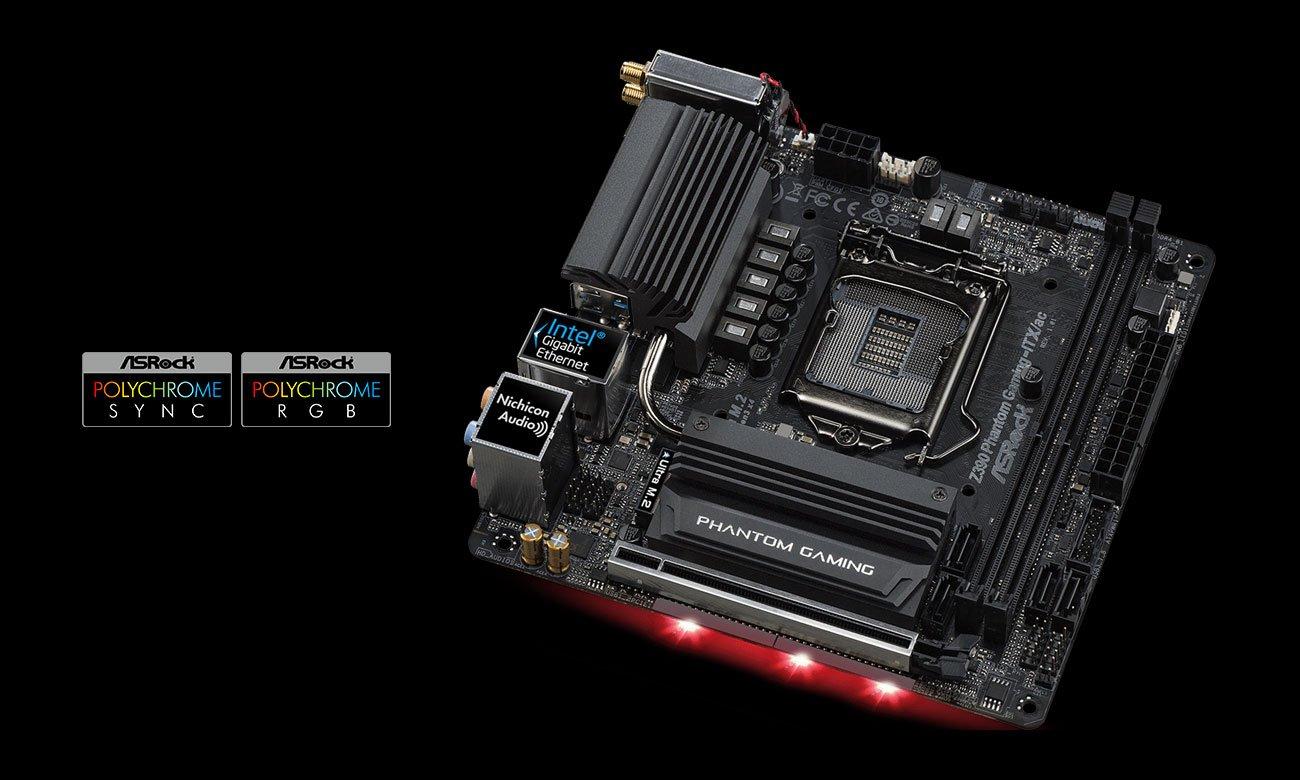 ASRock Z390 PHANTOM GAMING-ITX/AC Podświetlenie Polychrome RGB