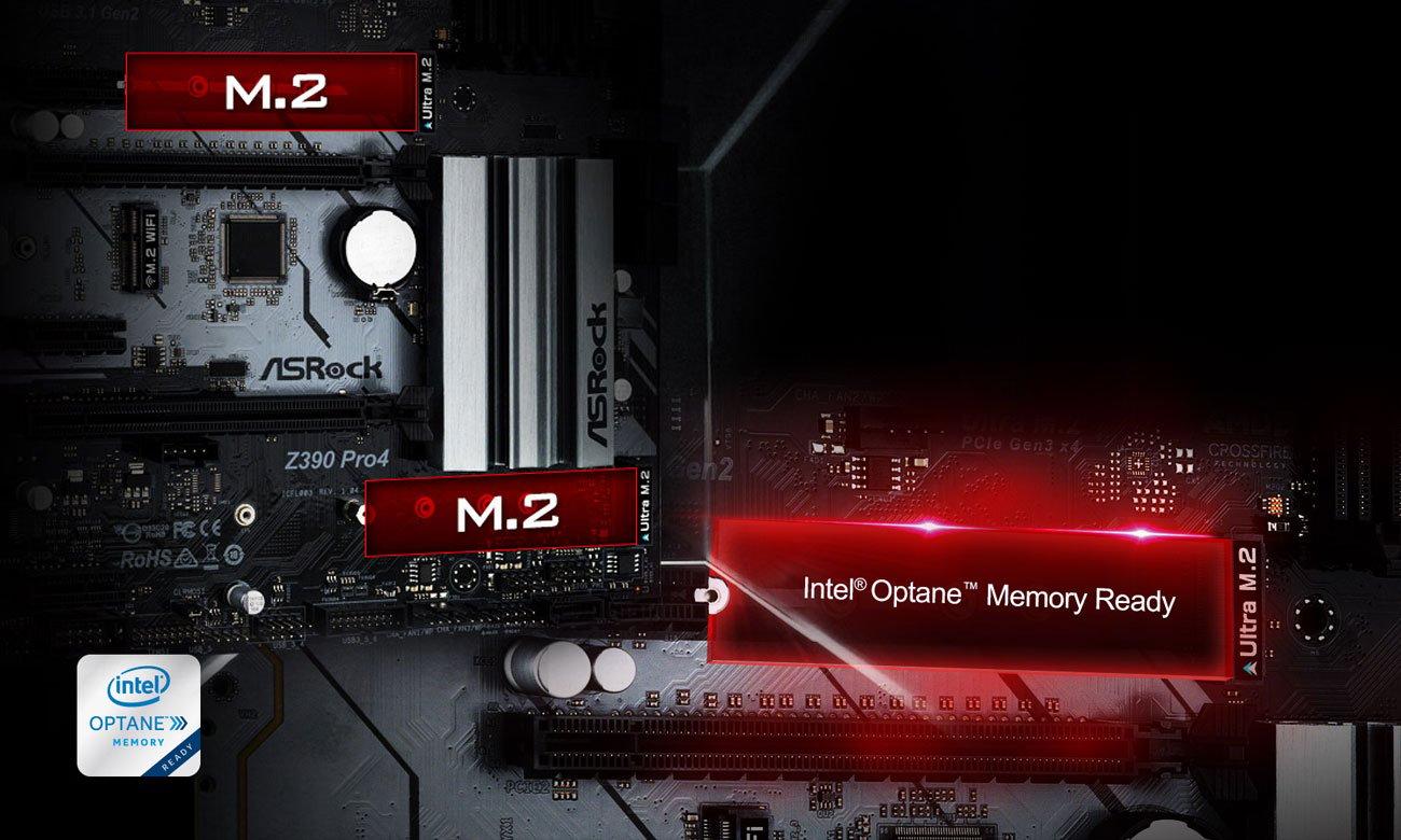 ASRock Z390 PRO4 Złącza M.2, Intel Optane
