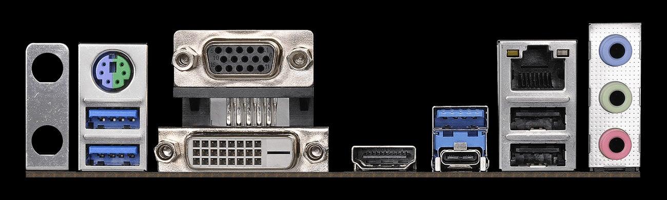 ASRock Z390 PRO4 Złącza zewnętrzne, audio