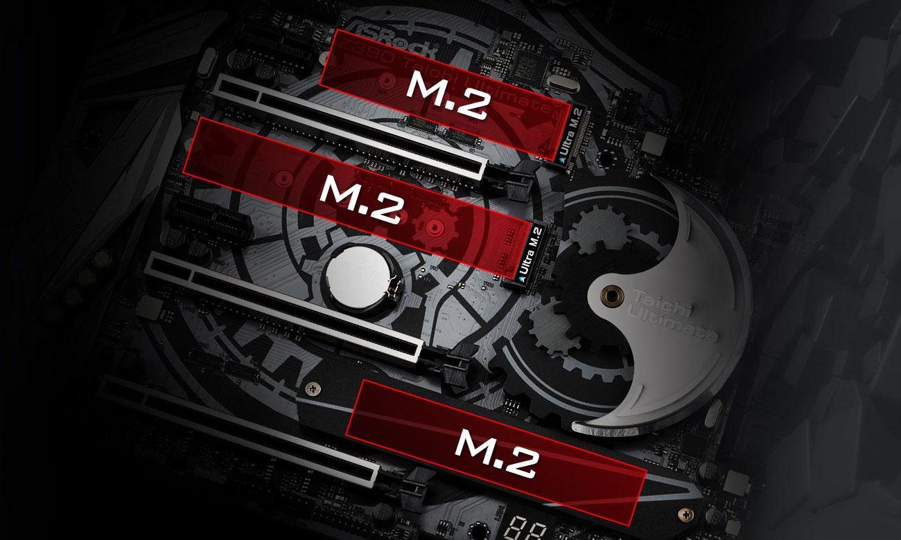 ASRock Z390 TAICHI ULTIMATE Trzy złącza M.2