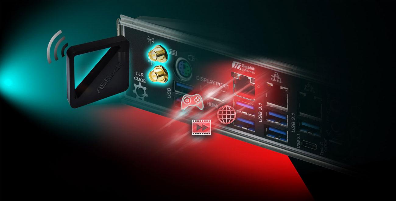 ASRock Z390 TAICHI ULTIMATE Łączność Wi-Fi AC i LAN 10 Gb/s