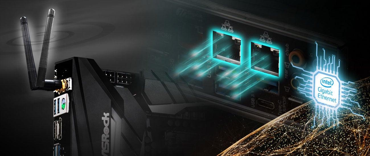 ASRock Z390 TAICHI Łączność 2xLAN i WiFi