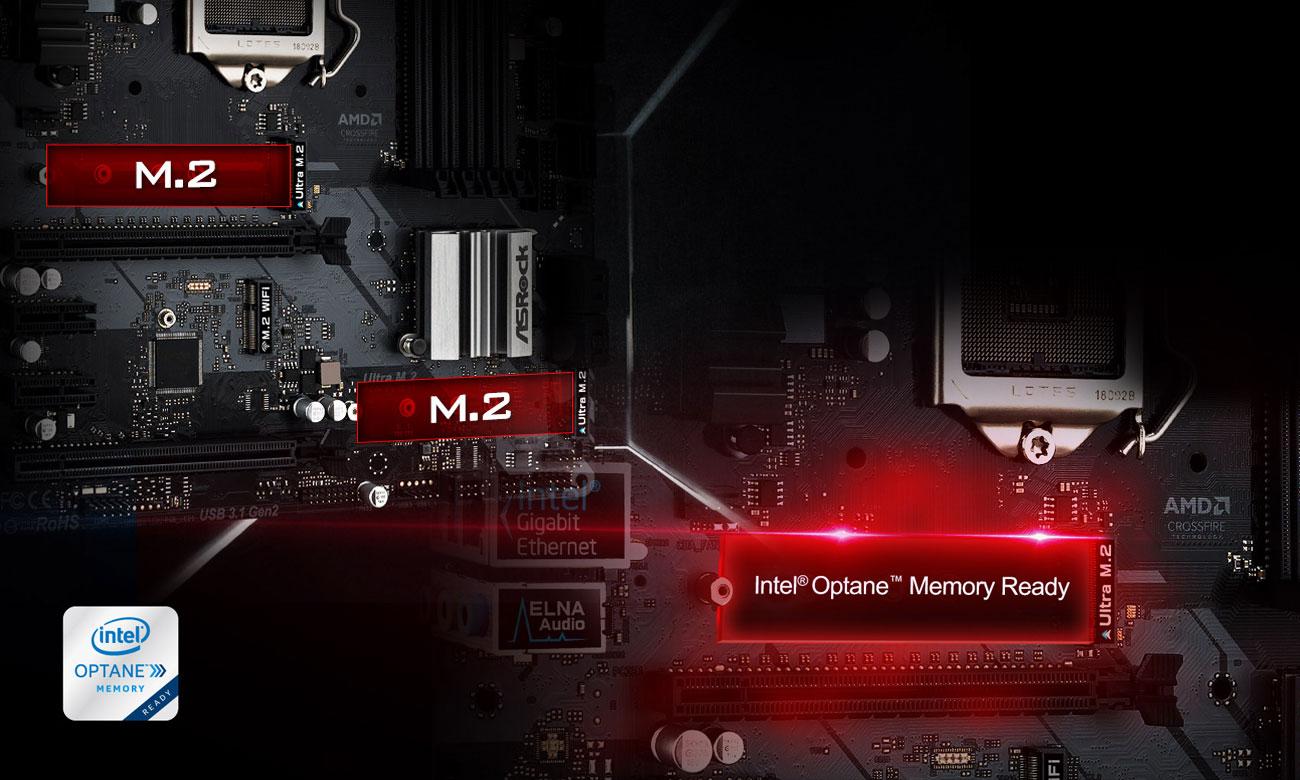 ASRock Z390M PRO4 Złącza M.2 Intel Optane