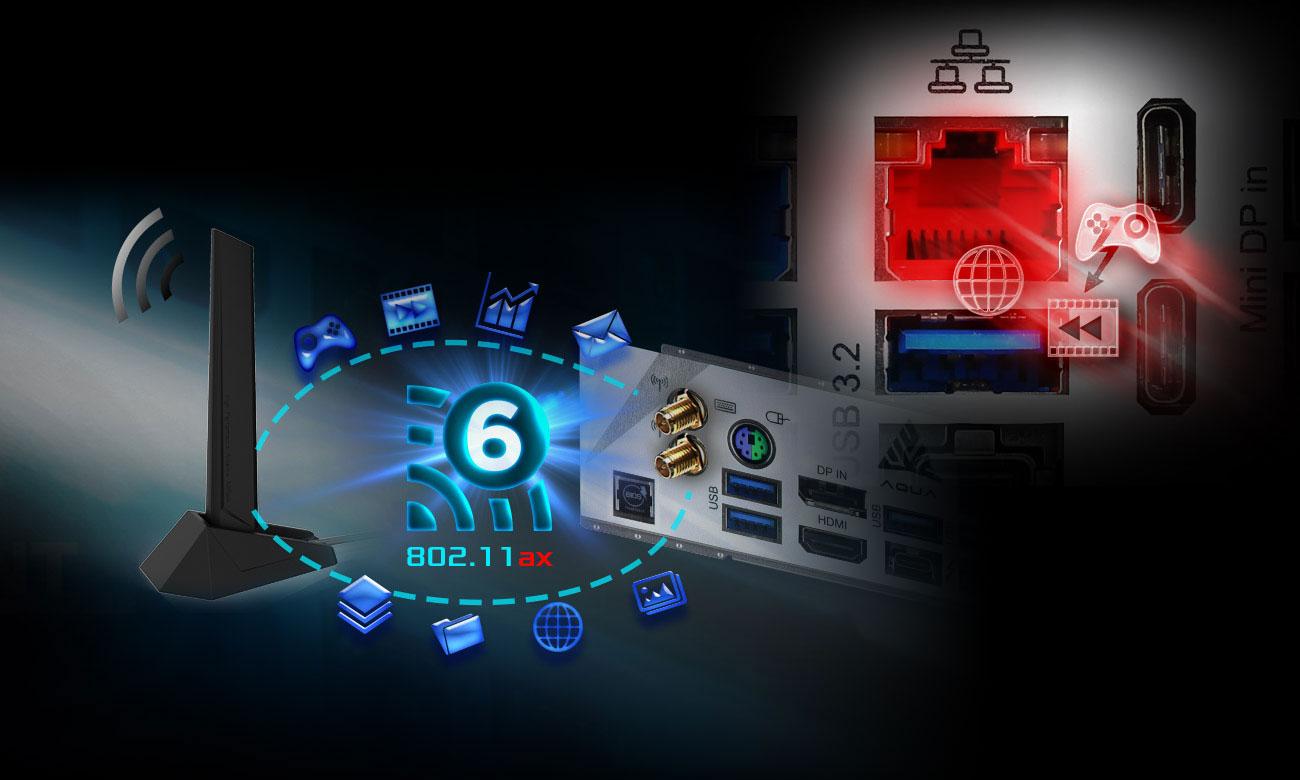 ASRock Z490 AQUA - Łączność Wi-Fi, LAN