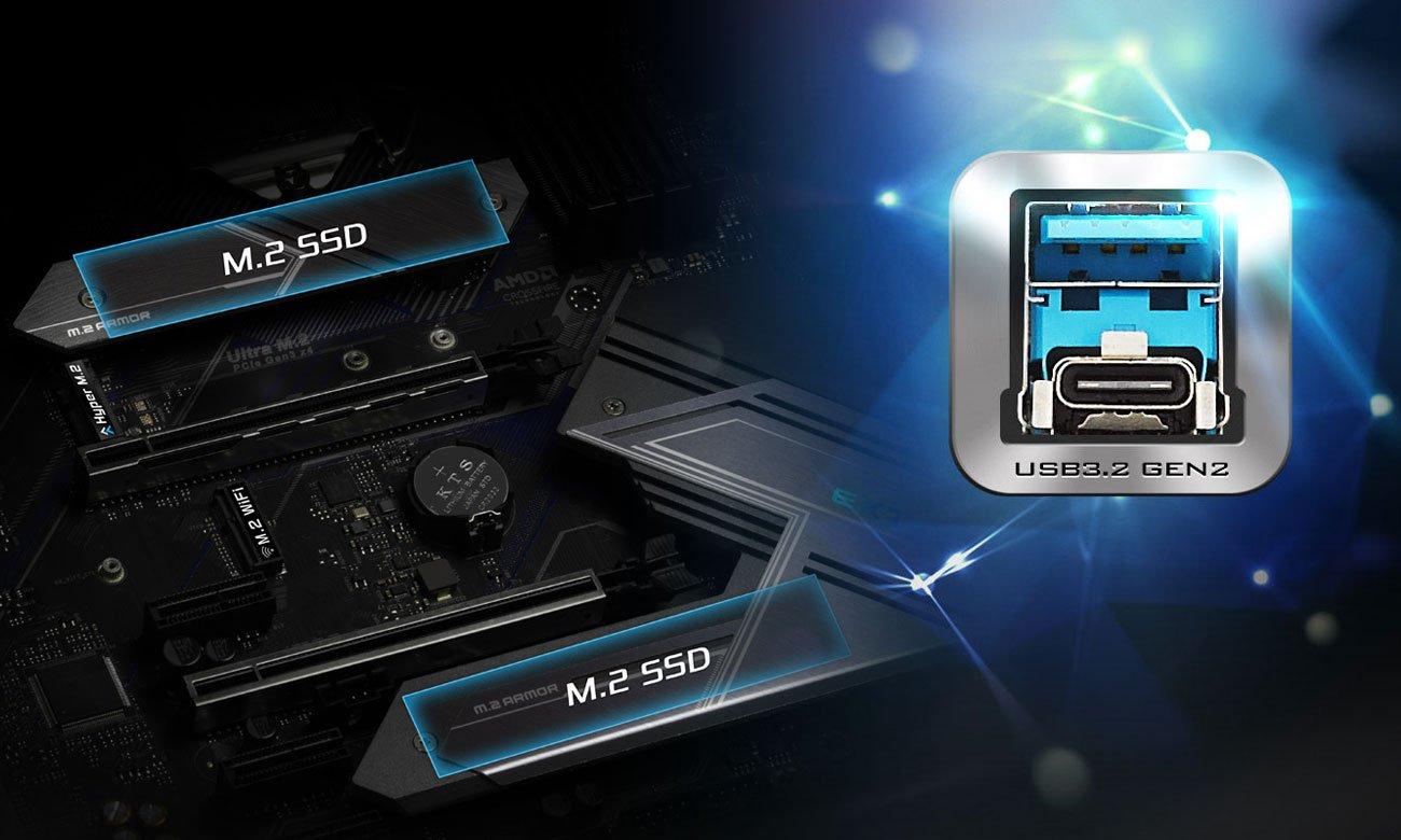 ASRock Z490 Extreme4 - Złącza M.2, USB
