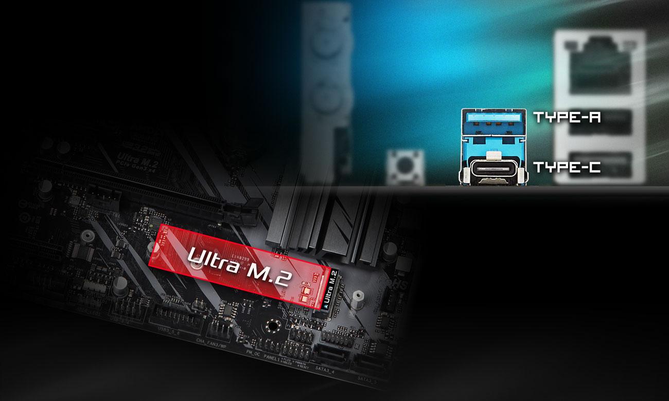 ASRock Z490 Phantom Gaming 4/ac - Złącza M.2, USB