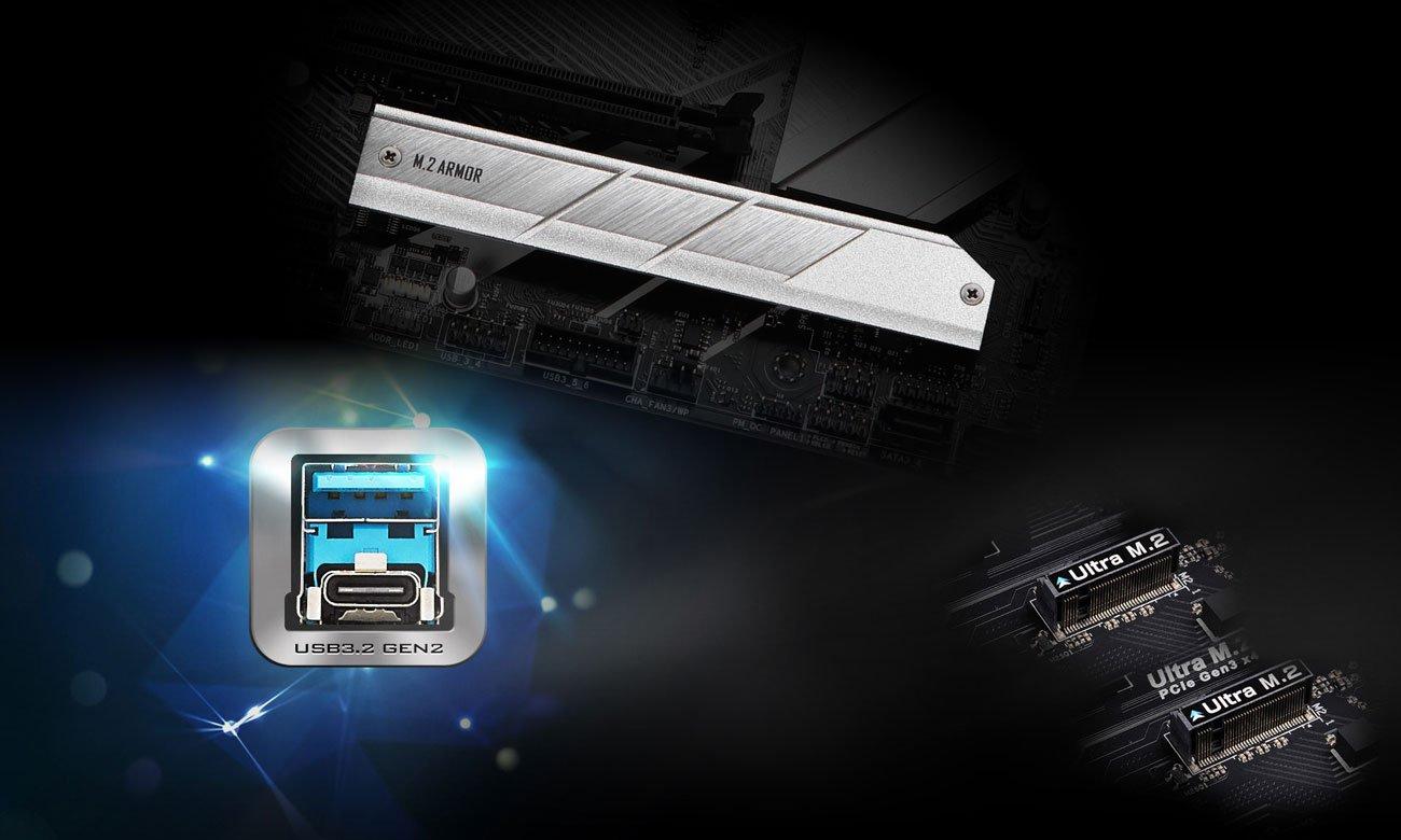 ASRock Z490 Pro4 - Złącza M.2,USB