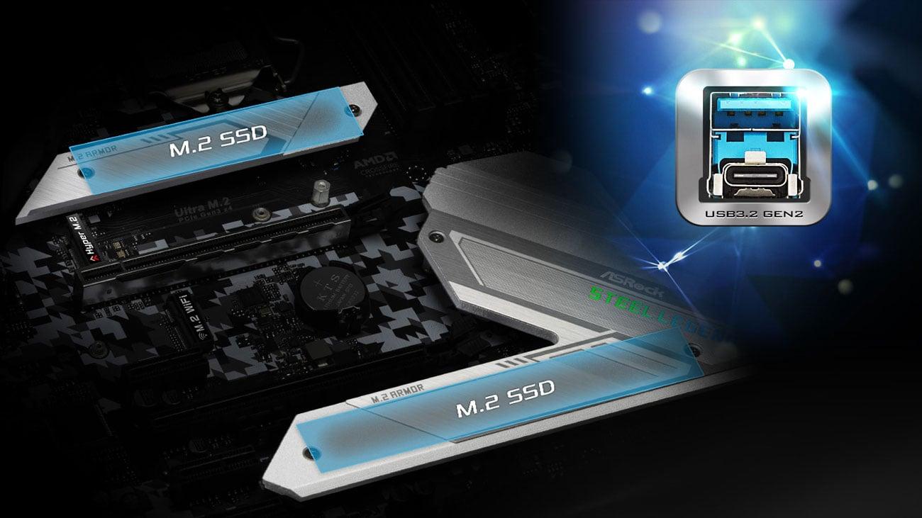 ASRock Z490 Steel Legend - Złącza M.2, USB