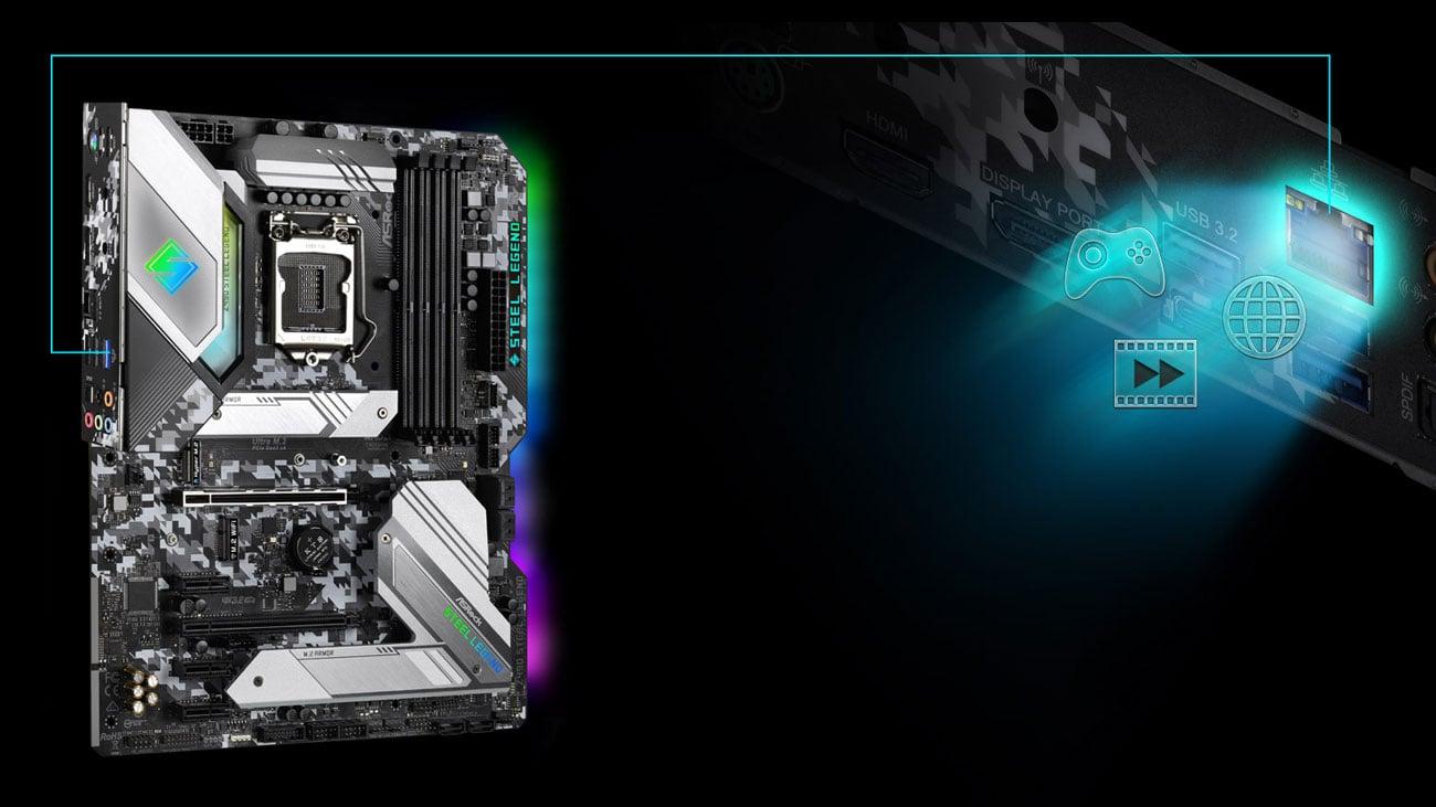 ASRock Z490 Steel Legend - Łączność LAN