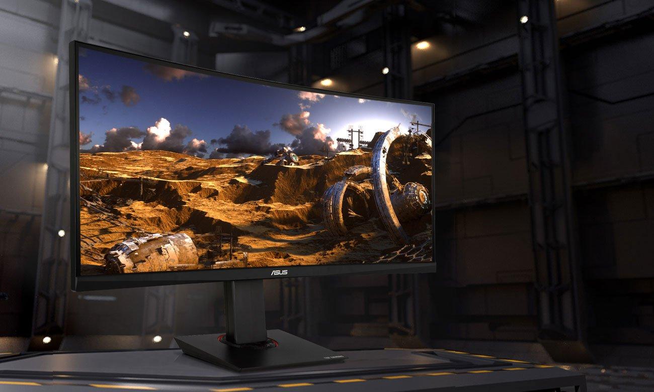 Der 21:9 Curved Monitor mit Bildwiederholfrequenz von 100Hz ASUS TUF Gaming VG35VQ 88,9 cm 35 Zoll TFT