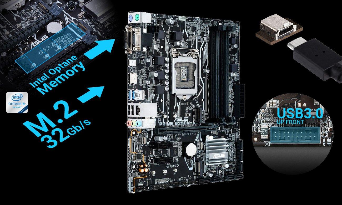 ASUS PRIME B250M-A Intel Optane M.2 USB 3.0 USB-C