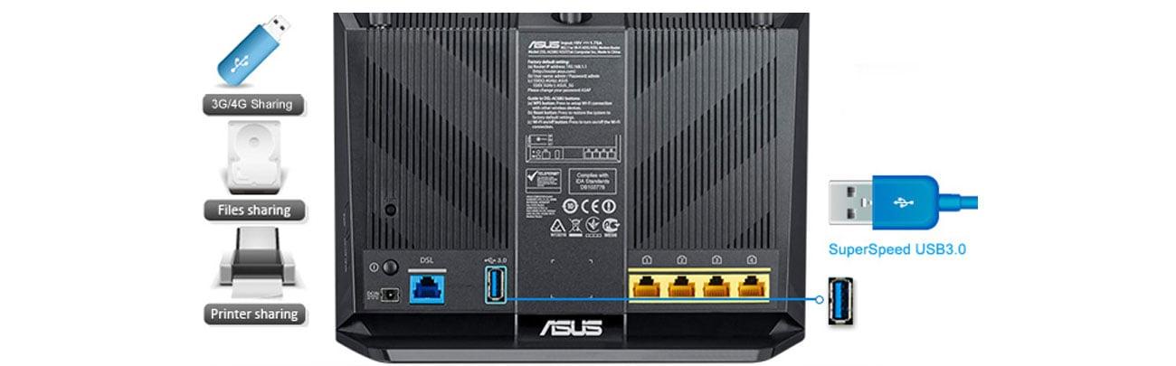 ASUS DSL-AC68U transfer USB 3.0 FTP HTTP UPnP