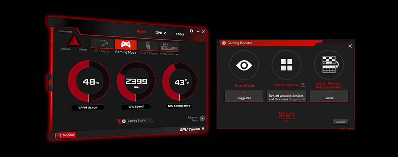Das GPU Tweak II Utility in der Grafikkarte ASUS GeForce 4GB GDDR5 DUAL-GTX1650-4G